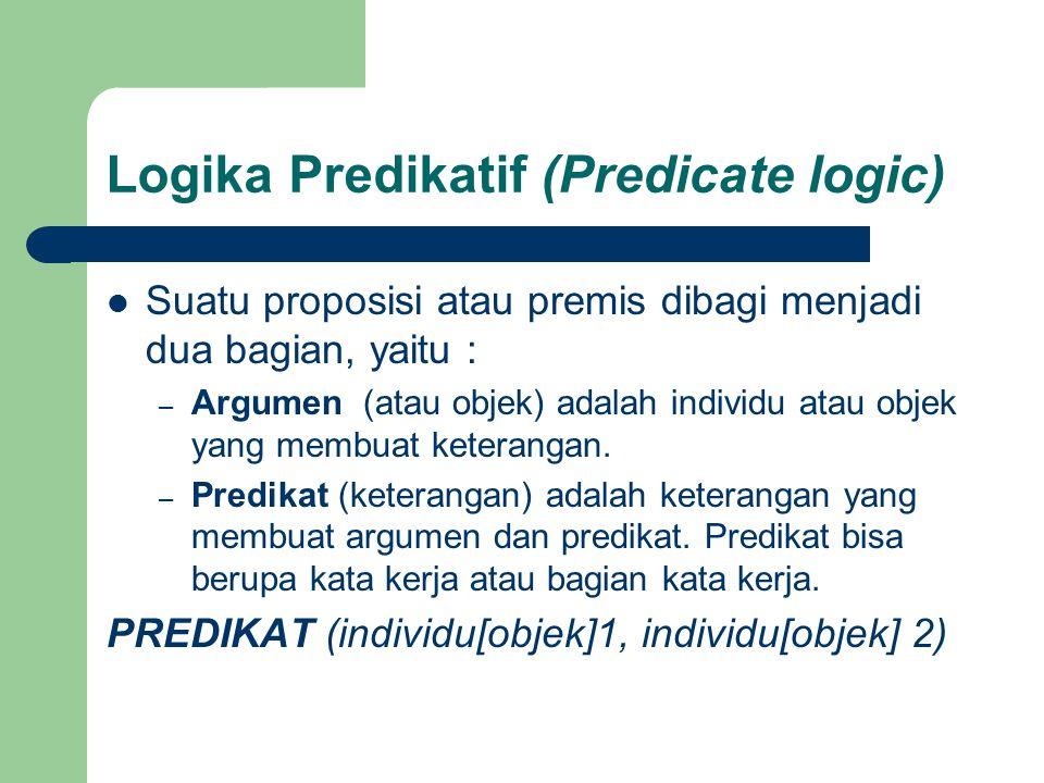 Suatu proposisi atau premis dibagi menjadi dua bagian, yaitu : – Argumen (atau objek) adalah individu atau objek yang membuat keterangan. – Predikat (