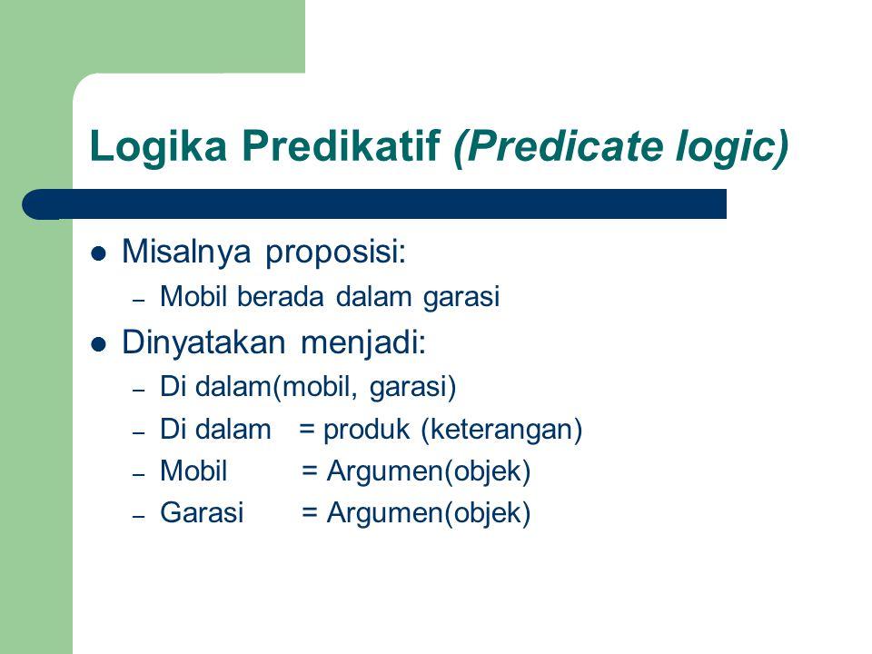 Logika Predikatif (Predicate logic) Misalnya proposisi: – Mobil berada dalam garasi Dinyatakan menjadi: – Di dalam(mobil, garasi) – Di dalam = produk