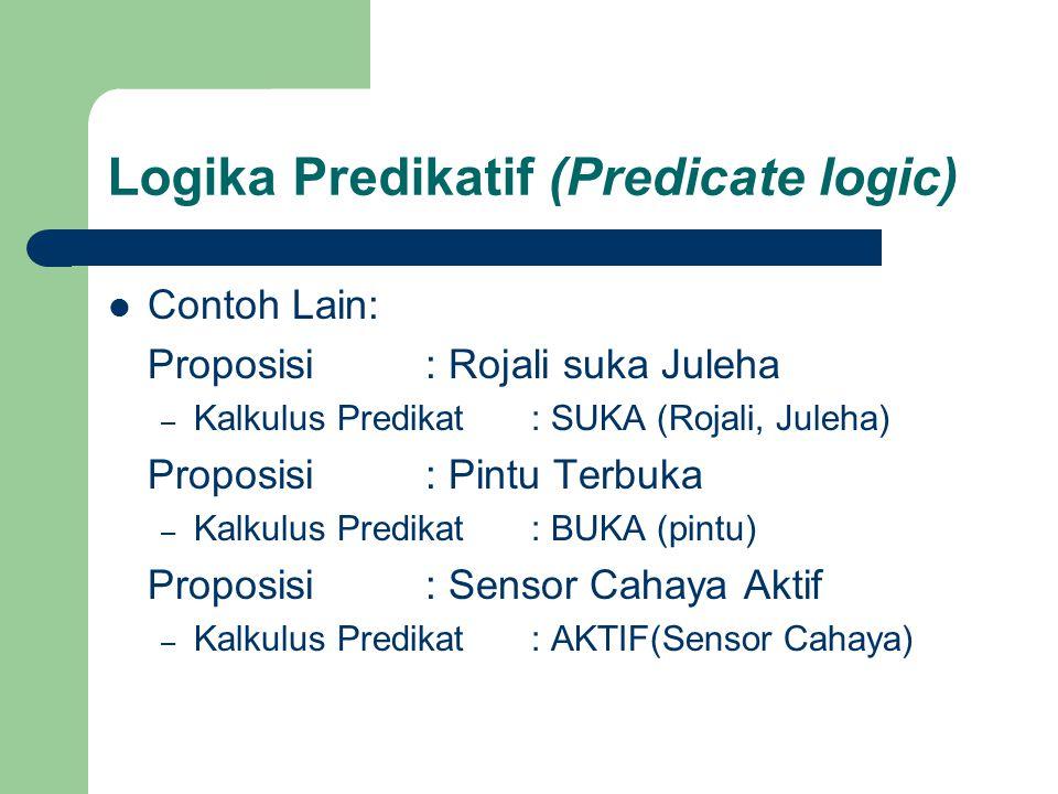Logika Predikatif (Predicate logic) Contoh Lain: Proposisi : Rojali suka Juleha – Kalkulus Predikat : SUKA (Rojali, Juleha) Proposisi : Pintu Terbuka