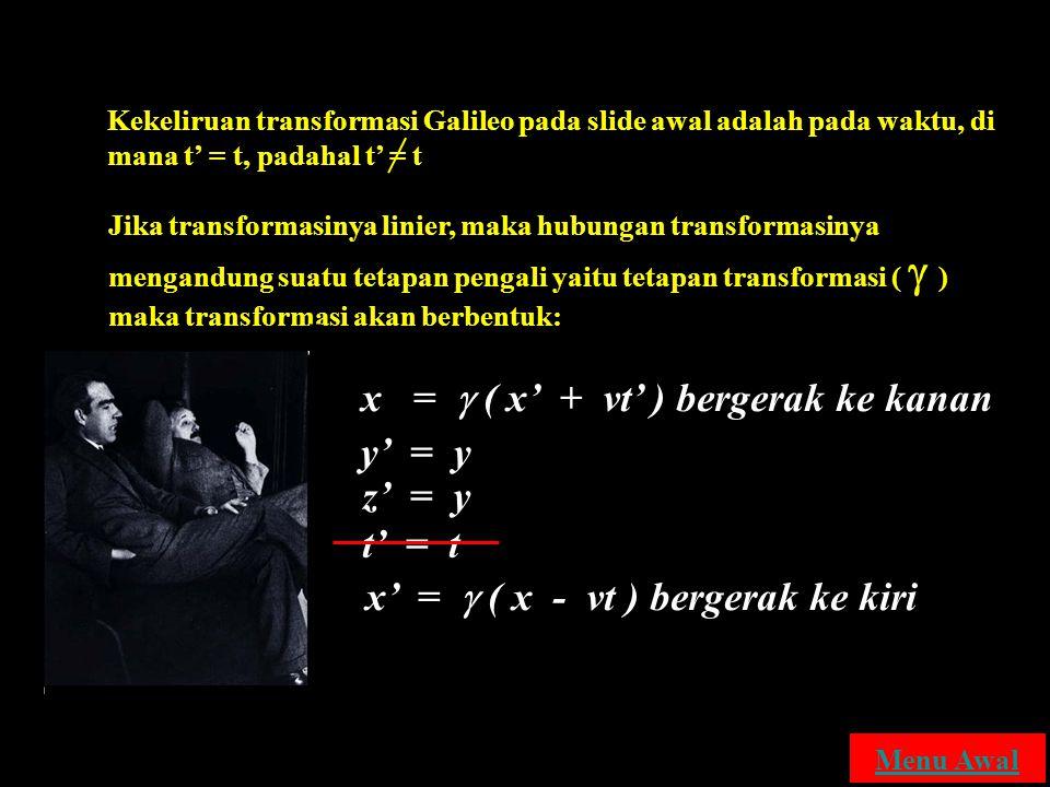 Tranformasi Lorentz Kekeliruan transformasi Galileo pada slide awal adalah pada waktu, di mana t' = t, padahal t' = t Jika transformasinya linier, mak