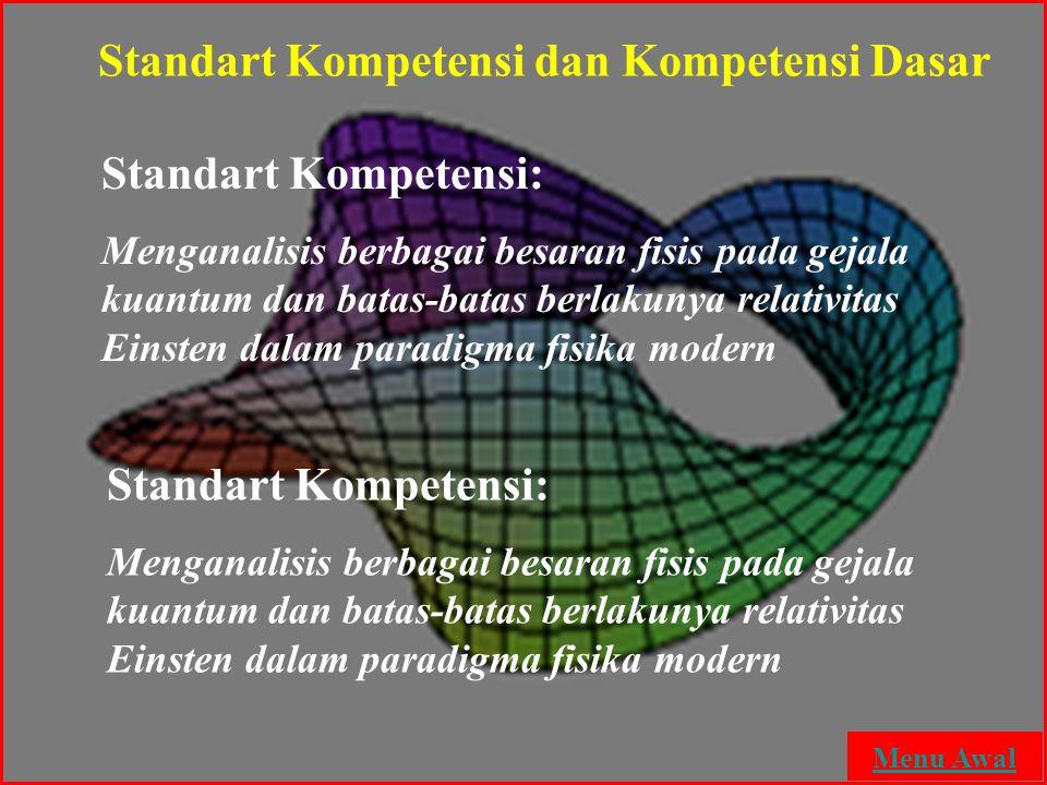 Standart Kompetensi: Menganalisis berbagai besaran fisis pada gejala kuantum dan batas-batas berlakunya relativitas Einsten dalam paradigma fisika mod