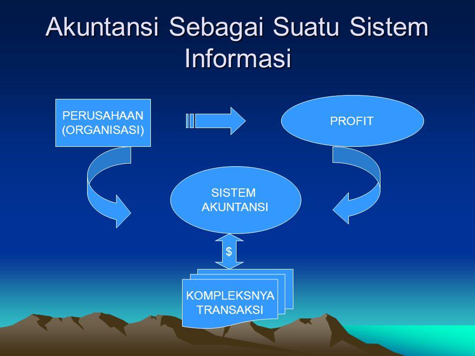 Akuntansi Sebagai Suatu Sistem Informasi PERUSAHAAN (ORGANISASI) PROFIT SISTEM AKUNTANSI KOMPLEKSNYA TRANSAKSI $