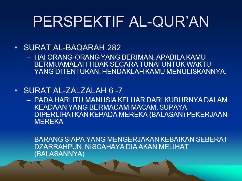 PERSPEKTIF AL-QUR'AN SURAT AL-BAQARAH 282 –H–HAI ORANG-ORANG YANG BERIMAN, APABILA KAMU BERMUAMALAH TIDAK SECARA TUNAI UNTUK WAKTU YANG DITENTUKAN, HENDAKLAH KAMU MENULISKANNYA.