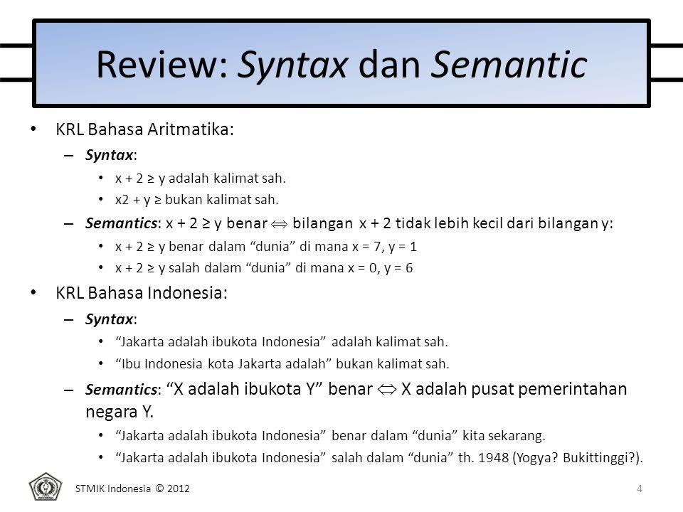 STMIK Indonesia © 2012 Review: Syntax dan Semantic KRL Bahasa Aritmatika: – Syntax: x + 2 ≥ y adalah kalimat sah.