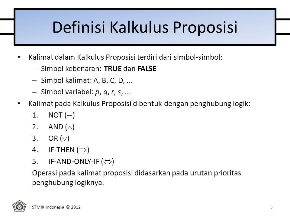 STMIK Indonesia © 2012 Contoh Semantik dalam Kalkulus Proposisi Diberikan sebuah kalimat: A : (x  (  y))  ((  x)  z) Dengan interpretasi I untuk A adalah: I: x  true y  false z  false Nilai kebenaran berdasarkan aturan semantik: – y  false, berdasarkan aturan not, (  y)  true – x  true, berdasarkan aturan and, (x  (  y))  true – x  true, berdasarkan aturan not, (  x)  false – (  x)  false dan z  false, berdasarkan aturan or, ((  x)  z)  false – (x  (  y))  true dan ((  x)  z)  false, berdasarkan aturan if-then, (x  (  y))  ((  x)  z)  false 16