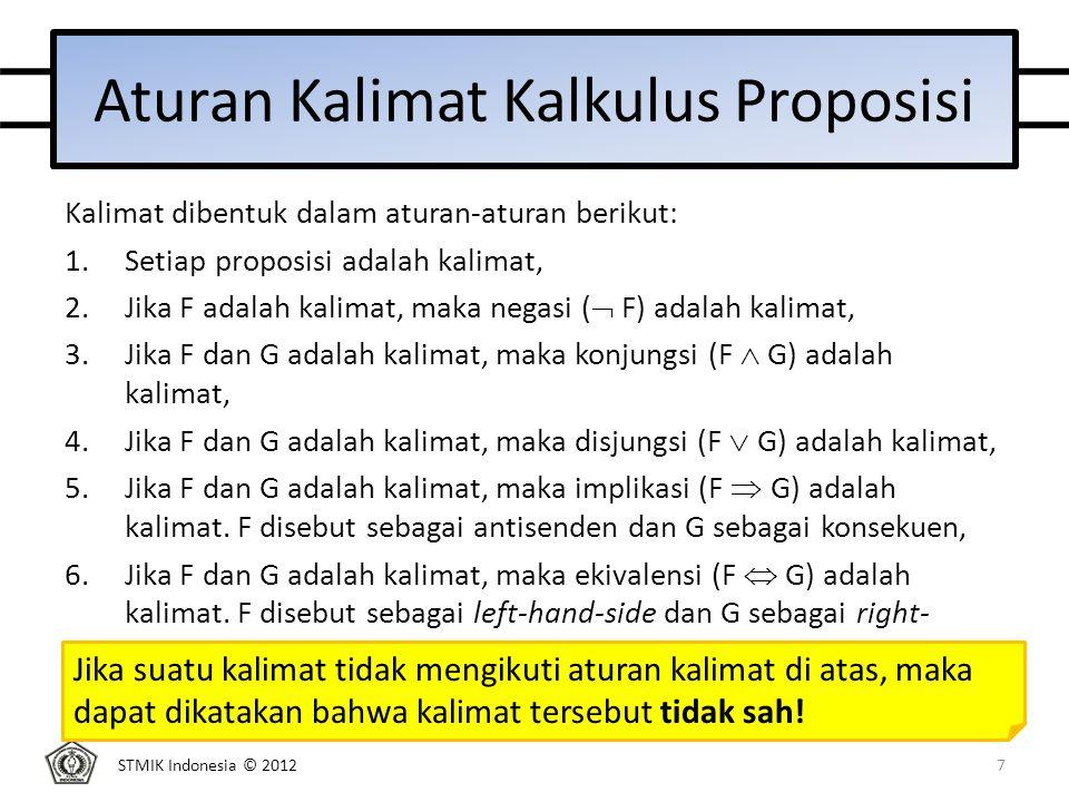 STMIK Indonesia © 2012 Tugas 1 (Tugas ditulis tangan dan dikumpulkan pada pertemuan ke-3) a.Periksa keabsahan kalimat berikut: 1)a  b  a  b 2)a  b  c  3)  a  b  c 4)a  b  b 5)a  b  c Jika sah, tentukan: a.Penyelesaian operasi kalimatnya (prioritisasi penghubung logik) b.Nilai kebenaran kalimat (menggunakan tabel kebenaran) 18