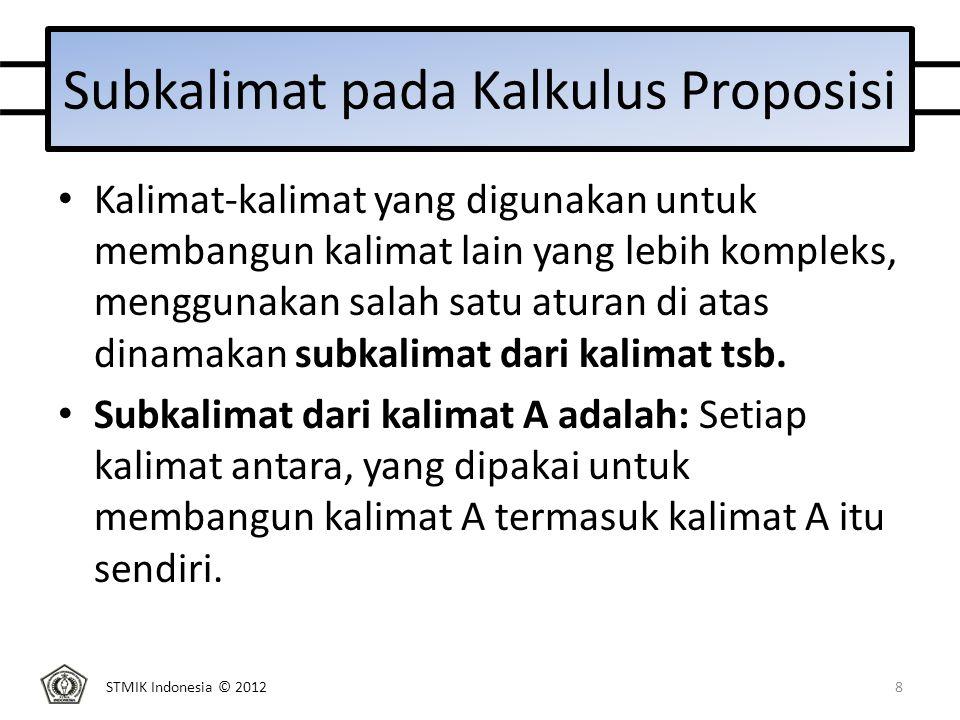 STMIK Indonesia © 2012 Latihan Diberikan kalimat E : (  (p  q))  ((  p)  (  q)) a.Apakah E merupakan kalimat.