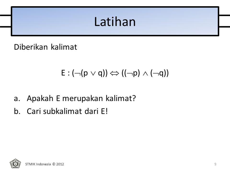 STMIK Indonesia © 2012 Jawaban Diketahui ekspresi E : (  (p  q))  ((  p)  (  q)) a.E adalah kalimat b.Subkalimat dari E ada 8: p, q, (p or q), (not p), (not q), not (p or q), (not p) and (not q), ((not (p or q)) if and only if ((not p) and (not q))) 10
