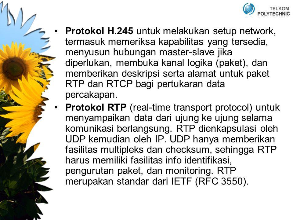 Protokol H.245 untuk melakukan setup network, termasuk memeriksa kapabilitas yang tersedia, menyusun hubungan master-slave jika diperlukan, membuka kanal logika (paket), dan memberikan deskripsi serta alamat untuk paket RTP dan RTCP bagi pertukaran data percakapan.