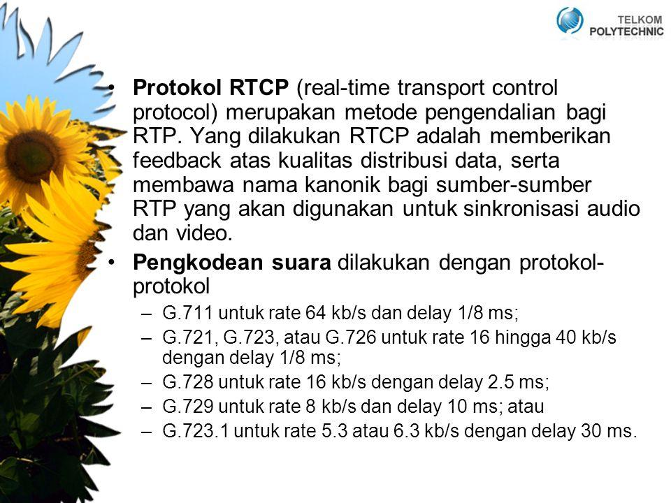 Protokol RTCP (real-time transport control protocol) merupakan metode pengendalian bagi RTP. Yang dilakukan RTCP adalah memberikan feedback atas kuali