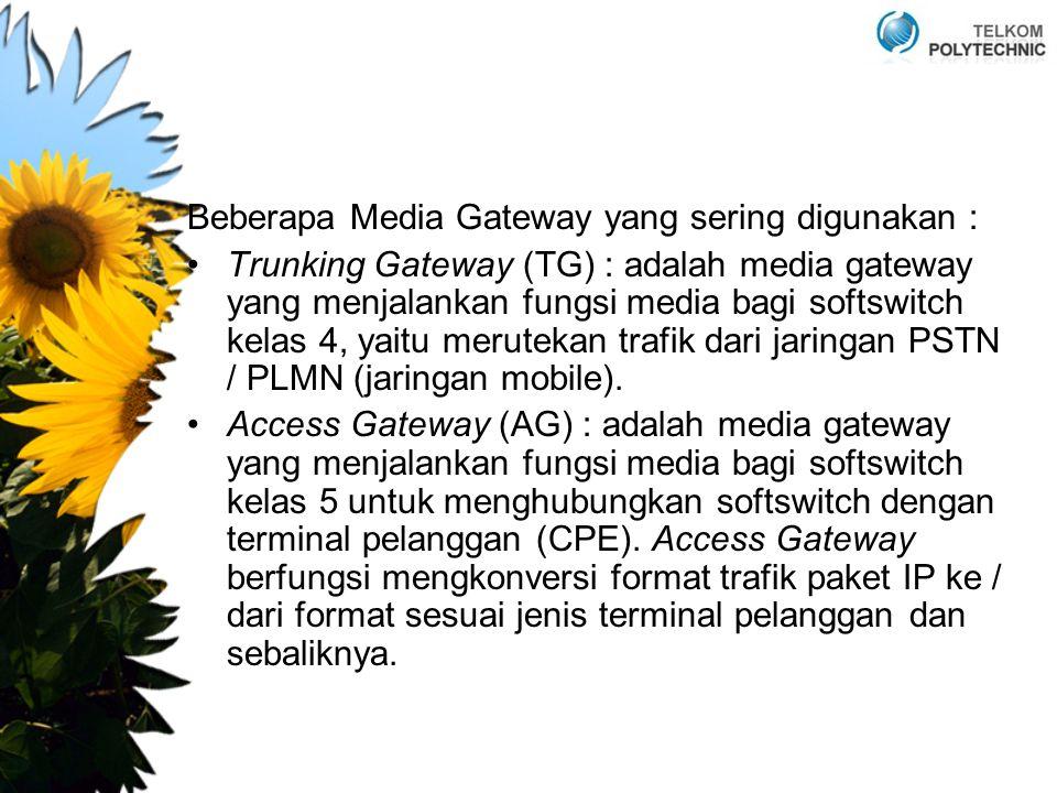 Beberapa Media Gateway yang sering digunakan : Trunking Gateway (TG) : adalah media gateway yang menjalankan fungsi media bagi softswitch kelas 4, yaitu merutekan trafik dari jaringan PSTN / PLMN (jaringan mobile).