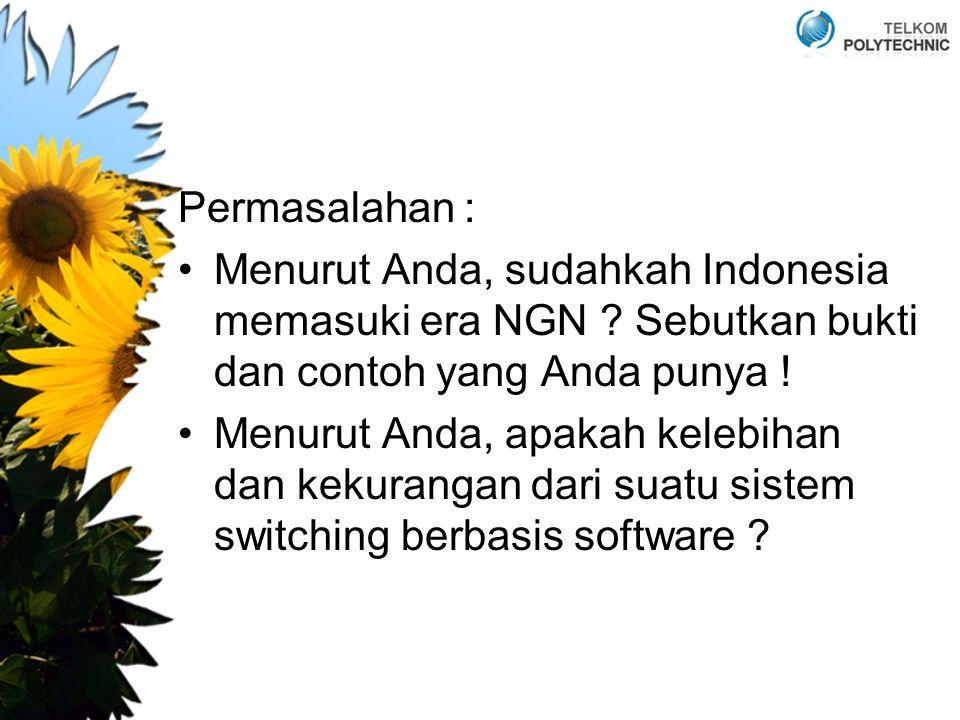 Permasalahan : Menurut Anda, sudahkah Indonesia memasuki era NGN ? Sebutkan bukti dan contoh yang Anda punya ! Menurut Anda, apakah kelebihan dan keku