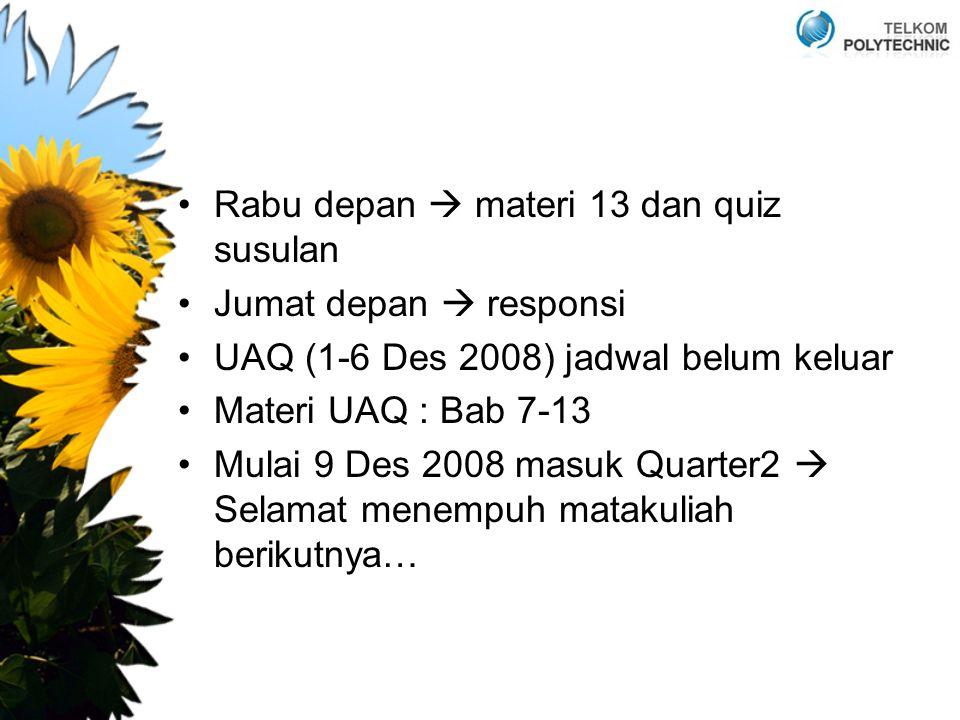 Rabu depan  materi 13 dan quiz susulan Jumat depan  responsi UAQ (1-6 Des 2008) jadwal belum keluar Materi UAQ : Bab 7-13 Mulai 9 Des 2008 masuk Quarter2  Selamat menempuh matakuliah berikutnya…