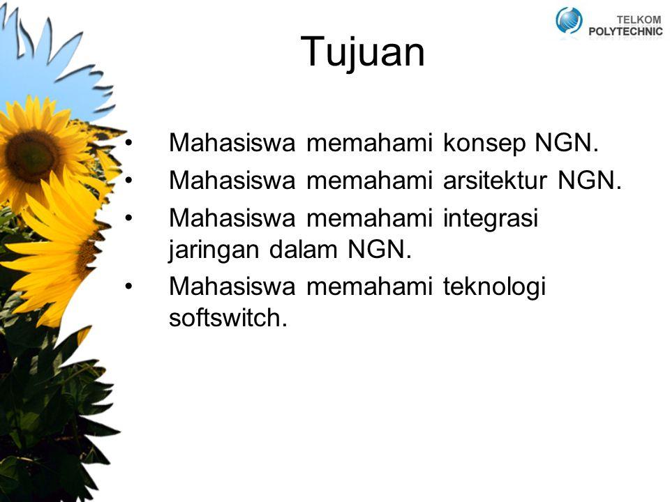 Tujuan Mahasiswa memahami konsep NGN. Mahasiswa memahami arsitektur NGN. Mahasiswa memahami integrasi jaringan dalam NGN. Mahasiswa memahami teknologi