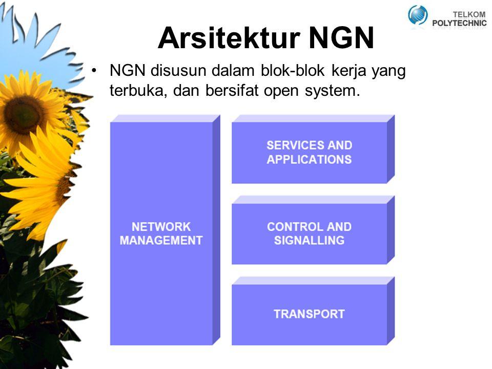 Arsitektur NGN NGN disusun dalam blok-blok kerja yang terbuka, dan bersifat open system.