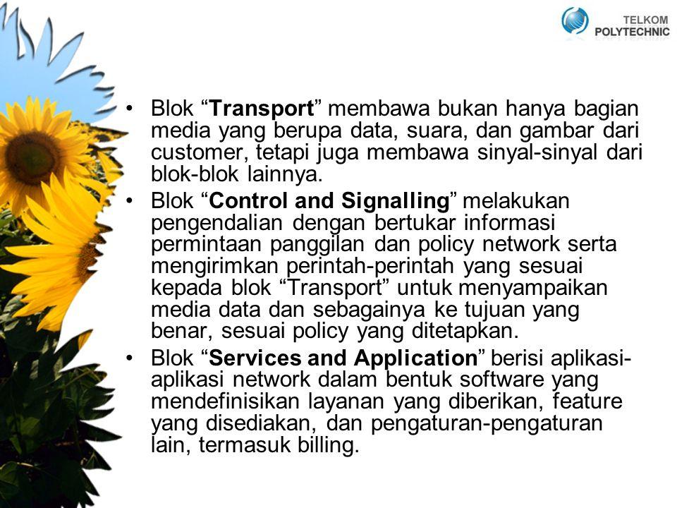 """Blok """"Transport"""" membawa bukan hanya bagian media yang berupa data, suara, dan gambar dari customer, tetapi juga membawa sinyal-sinyal dari blok-blok"""