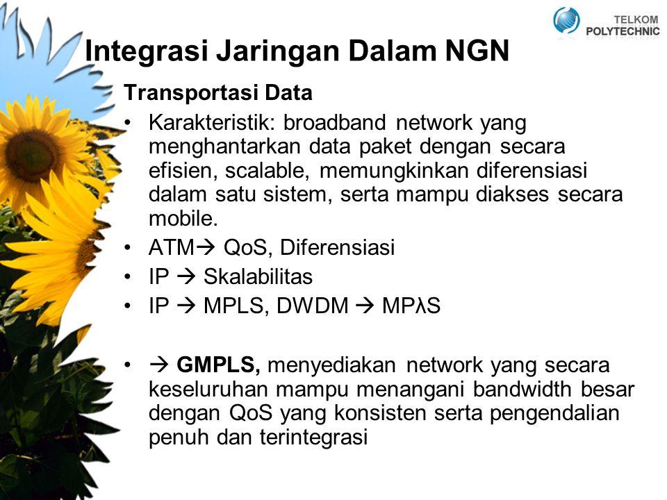 Integrasi Jaringan Dalam NGN Transportasi Data Karakteristik: broadband network yang menghantarkan data paket dengan secara efisien, scalable, memungkinkan diferensiasi dalam satu sistem, serta mampu diakses secara mobile.