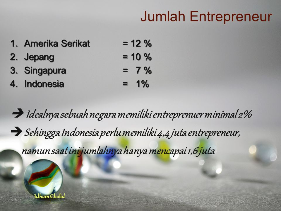 Idham Cholid Jumlah Entrepreneur 1.Amerika Serikat= 12 % 2.Jepang= 10 % 3.Singapura= 7 % 4.Indonesia= 1%  Idealnya sebuah negara memiliki entreprenue