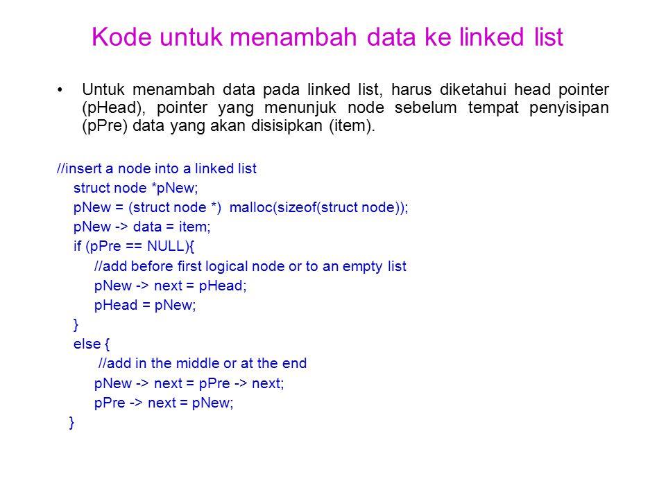Kode untuk menambah data ke linked list Untuk menambah data pada linked list, harus diketahui head pointer (pHead), pointer yang menunjuk node sebelum tempat penyisipan (pPre) data yang akan disisipkan (item).