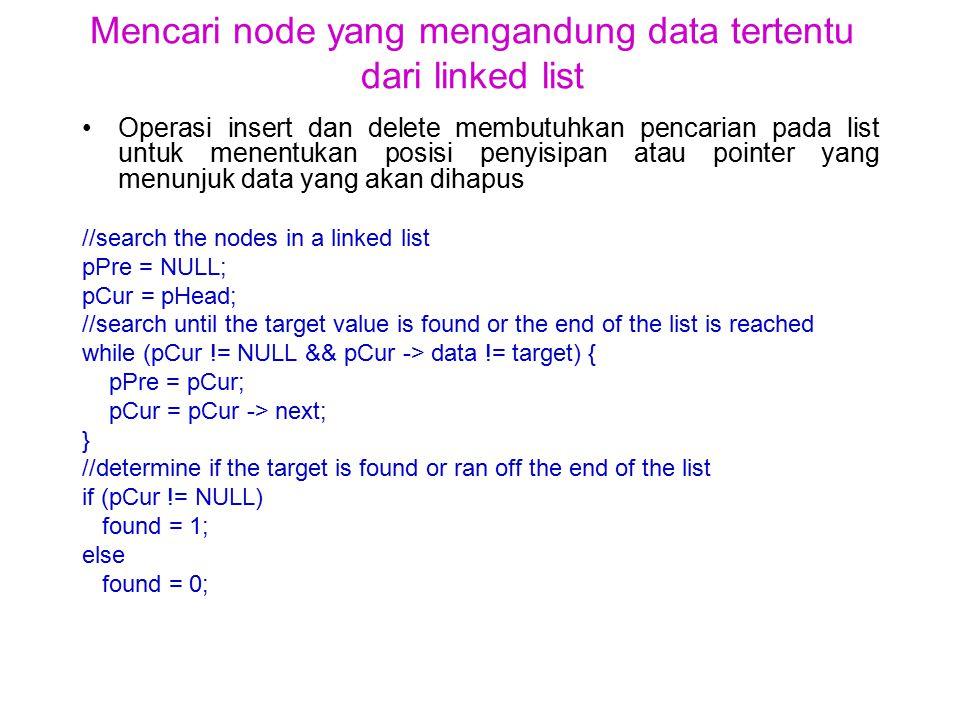 Mencari node yang mengandung data tertentu dari linked list Operasi insert dan delete membutuhkan pencarian pada list untuk menentukan posisi penyisipan atau pointer yang menunjuk data yang akan dihapus //search the nodes in a linked list pPre = NULL; pCur = pHead; //search until the target value is found or the end of the list is reached while (pCur != NULL && pCur -> data != target) { pPre = pCur; pCur = pCur -> next; } //determine if the target is found or ran off the end of the list if (pCur != NULL) found = 1; else found = 0;