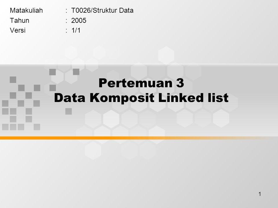 - Penyisipan pada pointer list head namaip Dewi 4.0 next namaip Tono 3.8 nextnamaip Ani 3.7 NULL next namaip Andi 3.9 NULL next p list p->next = list->next; list->next = p;
