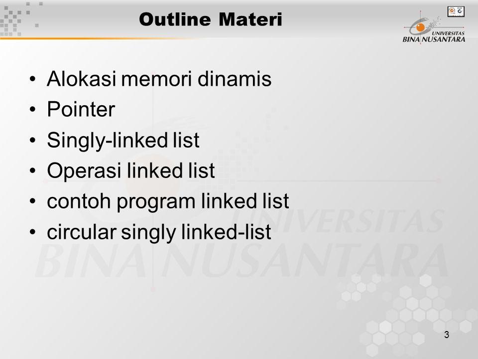 Definisi Linked list Linked List : struktur data yg terdiri dr bbrp node yang saling dikaitkan secara linear dengan bantuan pointer Node dialokasikan secara dinamik Tipe data node : struct Jumlah pointer pengait node –1(satu): single linked list –2 (dua): double linked list –>2 (lebih dari dua): multiple