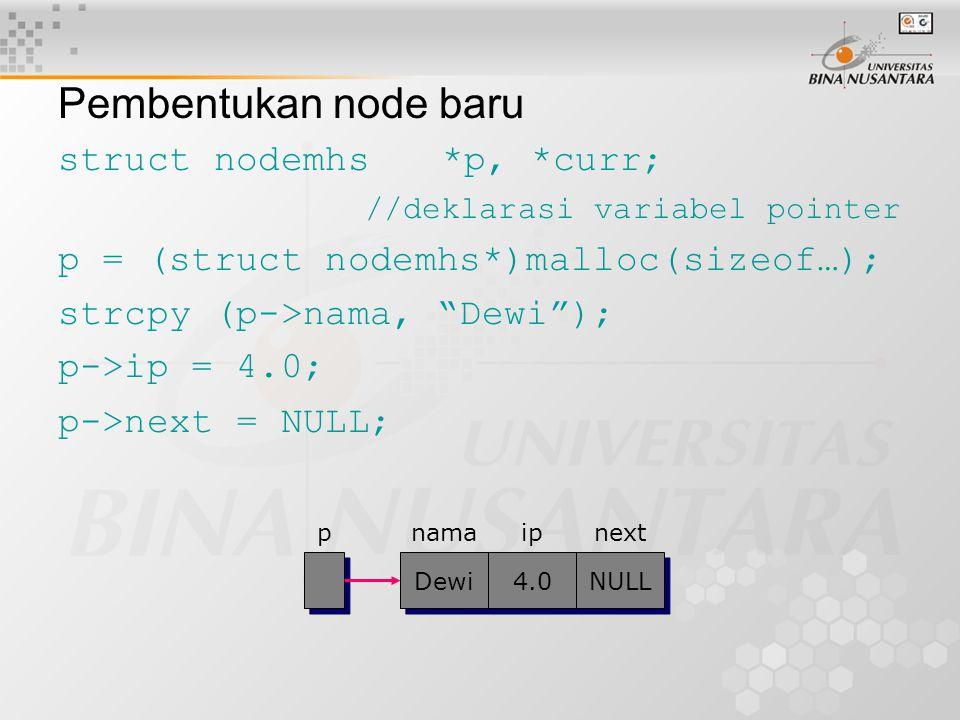 Pembentukan node baru struct nodemhs*p, *curr; //deklarasi variabel pointer p = (struct nodemhs*)malloc(sizeof…); strcpy (p->nama, Dewi ); p->ip = 4.0; p->next = NULL; pnamaip Dewi 4.0 NULL next