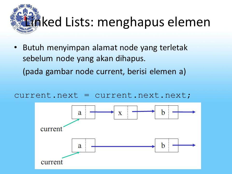 Linked Lists: menghapus elemen Butuh menyimpan alamat node yang terletak sebelum node yang akan dihapus.