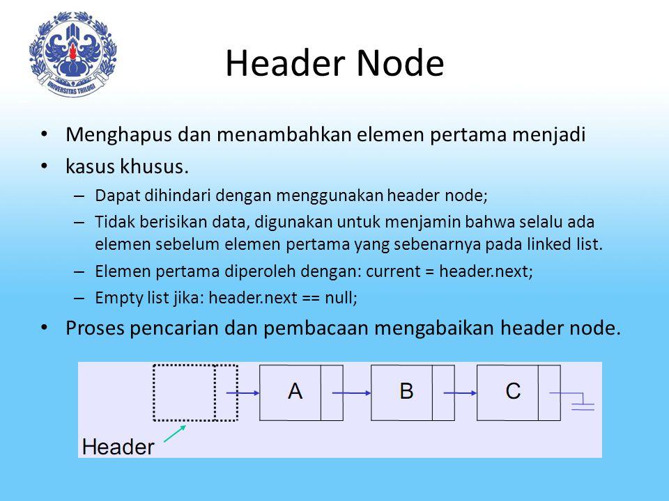 Header Node Menghapus dan menambahkan elemen pertama menjadi kasus khusus.