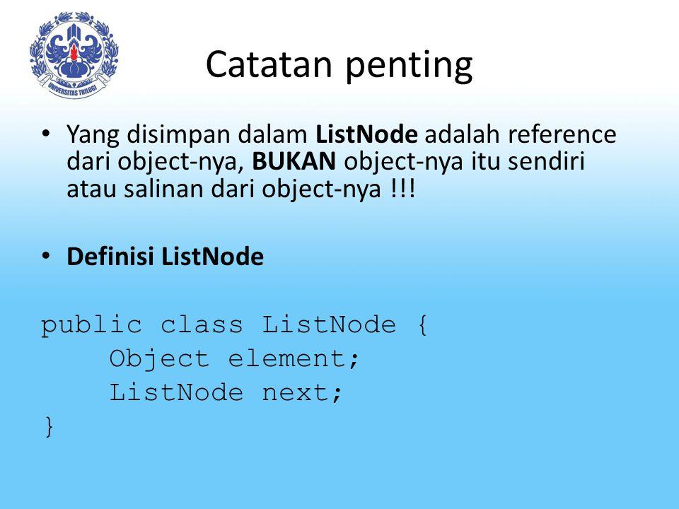 Catatan penting Yang disimpan dalam ListNode adalah reference dari object-nya, BUKAN object-nya itu sendiri atau salinan dari object-nya !!.