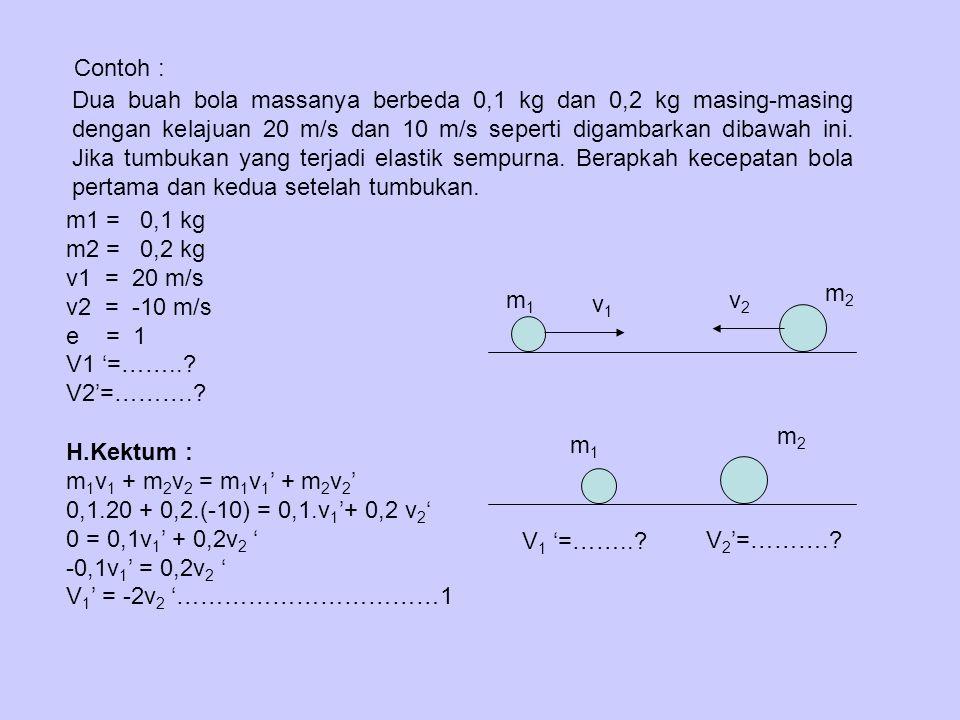 Contoh : Dua buah bola massanya berbeda 0,1 kg dan 0,2 kg masing-masing dengan kelajuan 20 m/s dan 10 m/s seperti digambarkan dibawah ini. Jika tumbuk
