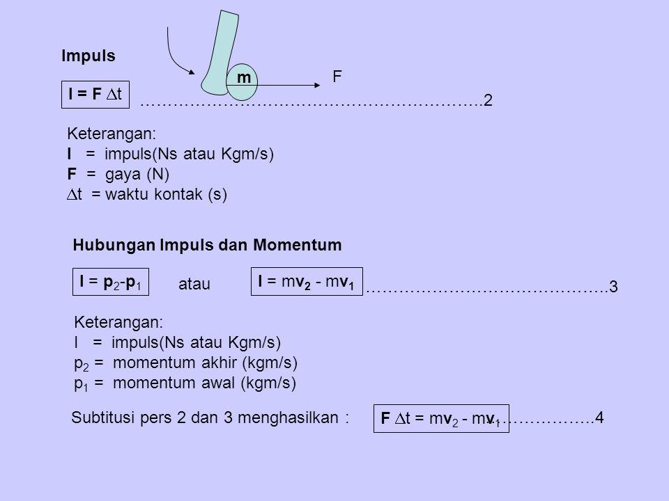 Impuls I = F  t Keterangan: I = impuls(Ns atau Kgm/s) F = gaya (N)  t = waktu kontak (s) Hubungan Impuls dan Momentum I = p 2 -p 1 Keterangan: I = i
