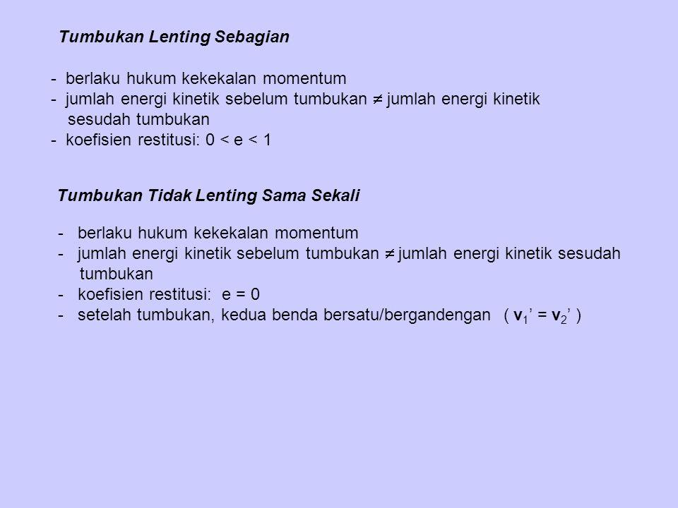 Tumbukan Tidak Lenting Sama Sekali - berlaku hukum kekekalan momentum - jumlah energi kinetik sebelum tumbukan  jumlah energi kinetik sesudah tumbukan - koefisien restitusi: e = 0 - setelah tumbukan, kedua benda bersatu/bergandengan ( v 1 ' = v 2 ' ) Tumbukan Lenting Sebagian - berlaku hukum kekekalan momentum - jumlah energi kinetik sebelum tumbukan  jumlah energi kinetik sesudah tumbukan - koefisien restitusi: 0 < e < 1