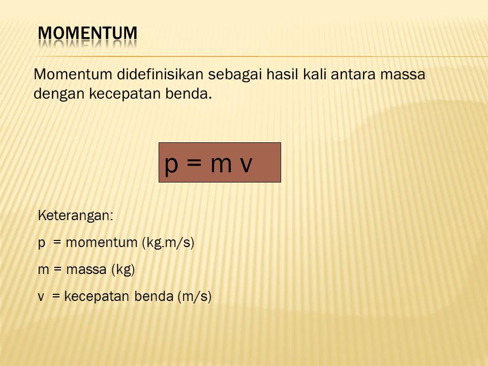 Momentum didefinisikan sebagai hasil kali antara massa dengan kecepatan benda. p = m v Keterangan: p = momentum (kg.m/s) m = massa (kg) v = kecepatan