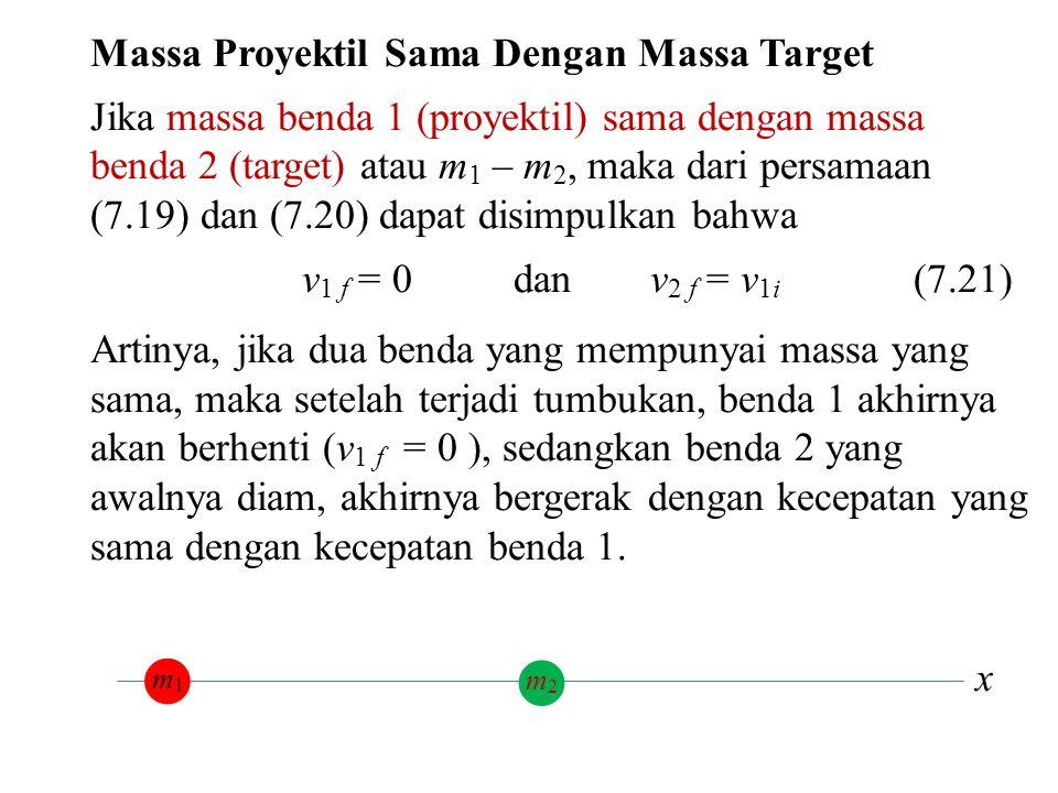 x Massa Proyektil Sama Dengan Massa Target Jika massa benda 1 (proyektil) sama dengan massa benda 2 (target) atau m 1 – m 2, maka dari persamaan (7.19