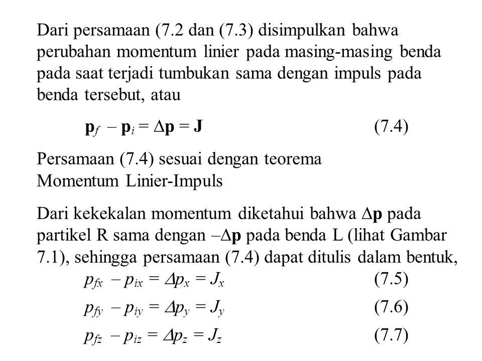 Dari persamaan (7.2 dan (7.3) disimpulkan bahwa perubahan momentum linier pada masing-masing benda pada saat terjadi tumbukan sama dengan impuls pada