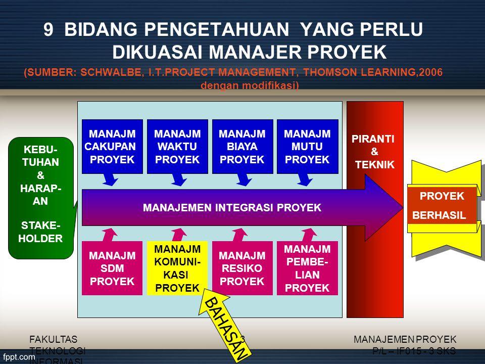9 BIDANG PENGETAHUAN YANG PERLU DIKUASAI MANAJER PROYEK (SUMBER: SCHWALBE, I.T.PROJECT MANAGEMENT, THOMSON LEARNING,2006 dengan modifikasi) FAKULTAS T