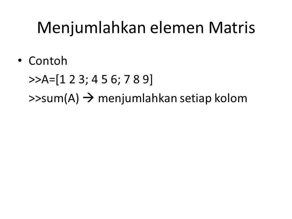 Menjumlahkan elemen Matris Contoh >>A=[1 2 3; 4 5 6; 7 8 9] >>sum(A)  menjumlahkan setiap kolom