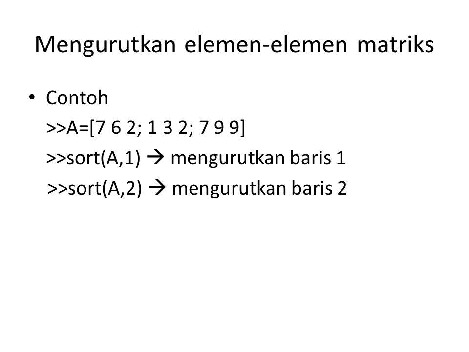 Mengurutkan elemen-elemen matriks Contoh >>A=[7 6 2; 1 3 2; 7 9 9] >>sort(A,1)  mengurutkan baris 1 >>sort(A,2)  mengurutkan baris 2