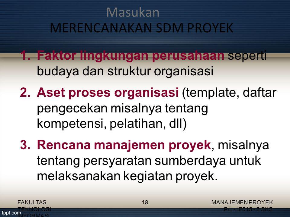 1.Faktor lingkungan perusahaan seperti budaya dan struktur organisasi 2.Aset proses organisasi (template, daftar pengecekan misalnya tentang kompetens