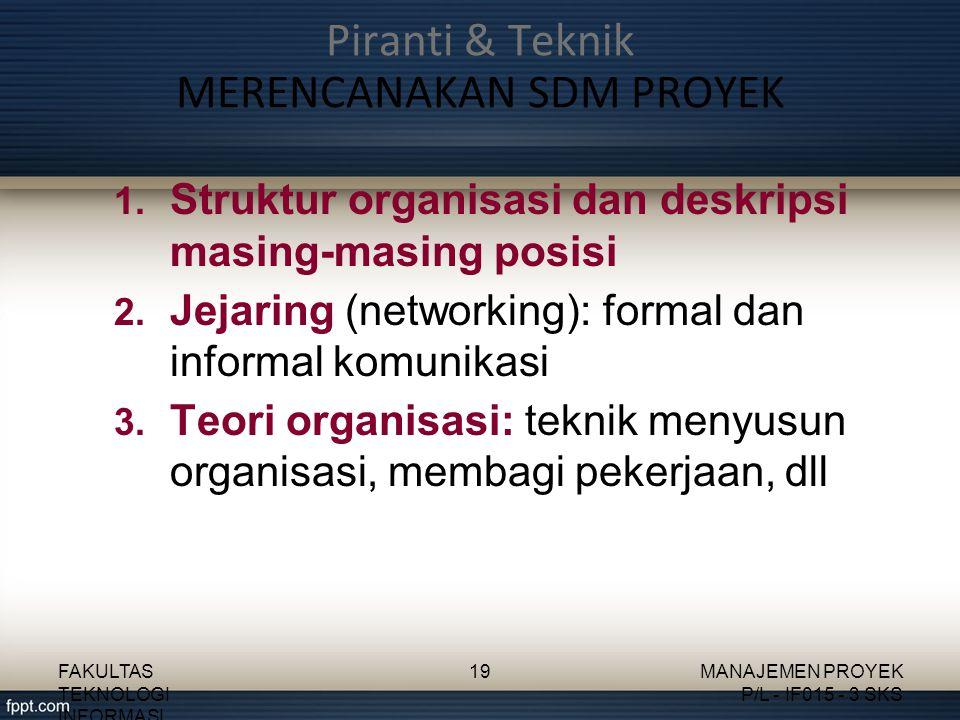 1. Struktur organisasi dan deskripsi masing-masing posisi 2. Jejaring (networking): formal dan informal komunikasi 3. Teori organisasi: teknik menyusu