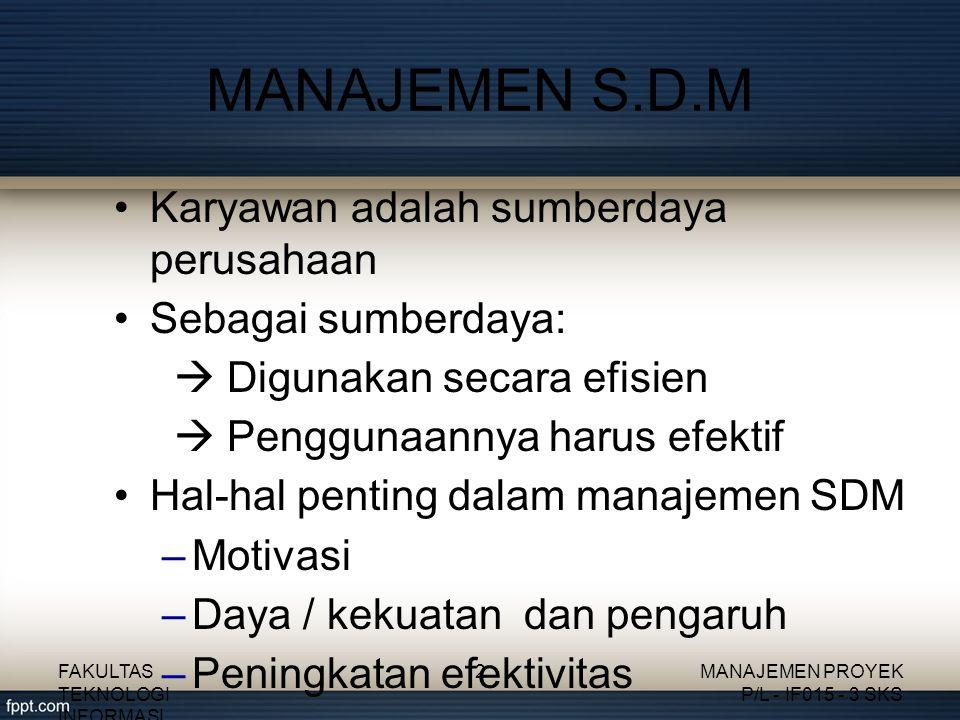 MOTIVASI SDM Pemenuhan terhadap kebutuhan karyawan dipakai sebagai motivator Hirarki kebutuhan menurut Maslow: (dari yang terendah) 1.Kebutuhan fisiologis 2.Kebutuhan keamanan 3.Kebutuhan sosial 4.Kebutuhan dihargai 5.Kebutuhan aktualisasi diri FAKULTAS TEKNOLOGI INFORMASI 3MANAJEMEN PROYEK P/L - IF015 - 3 SKS
