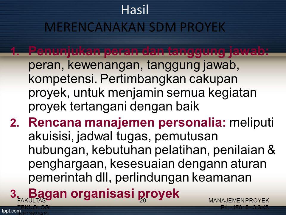 Hasil MERENCANAKAN SDM PROYEK 1.
