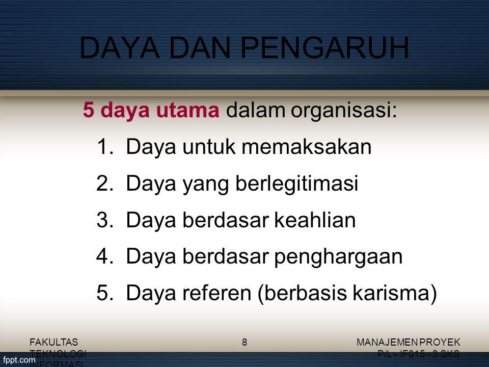 5 daya utama dalam organisasi: 1.Daya untuk memaksakan 2.Daya yang berlegitimasi 3.Daya berdasar keahlian 4.Daya berdasar penghargaan 5.Daya referen (berbasis karisma) DAYA DAN PENGARUH FAKULTAS TEKNOLOGI INFORMASI 8MANAJEMEN PROYEK P/L - IF015 - 3 SKS