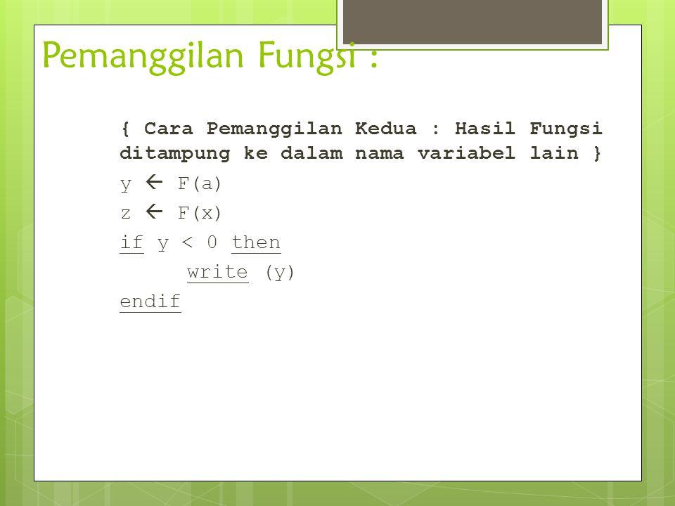 Pemanggilan Fungsi : { Cara Pemanggilan Kedua : Hasil Fungsi ditampung ke dalam nama variabel lain } y  F(a) z  F(x) if y < 0 then write (y) endif