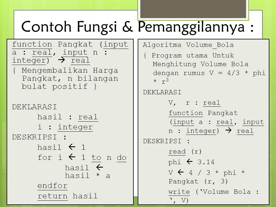 Contoh Fungsi & Pemanggilannya : function Pangkat (input a : real, input n : integer)  real { Mengembalikan Harga Pangkat, n bilangan bulat positif }