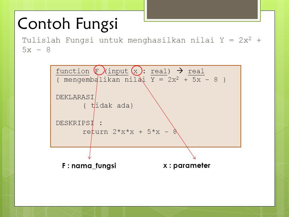 Contoh Fungsi Tulislah Fungsi untuk menghasilkan nilai Y = 2x 2 + 5x – 8 function F (input x : real)  real { mengembalikan nilai Y = 2x 2 + 5x – 8 }