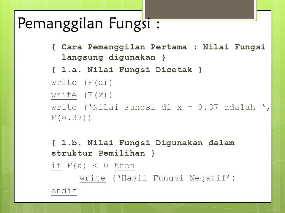 Pemanggilan Fungsi : { Cara Pemanggilan Pertama : Nilai Fungsi langsung digunakan } { 1.a. Nilai Fungsi Dicetak } write (F(a)) write (F(x)) write ('Ni