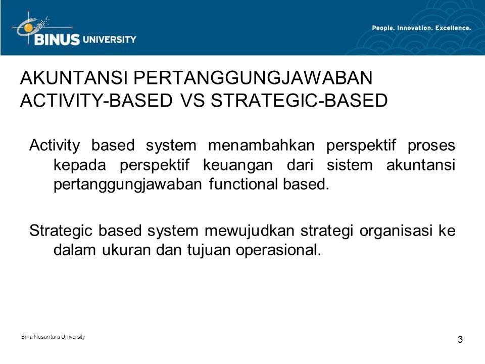 AKUNTANSI PERTANGGUNGJAWABAN ACTIVITY-BASED VS STRATEGIC-BASED Activity based system menambahkan perspektif proses kepada perspektif keuangan dari sis
