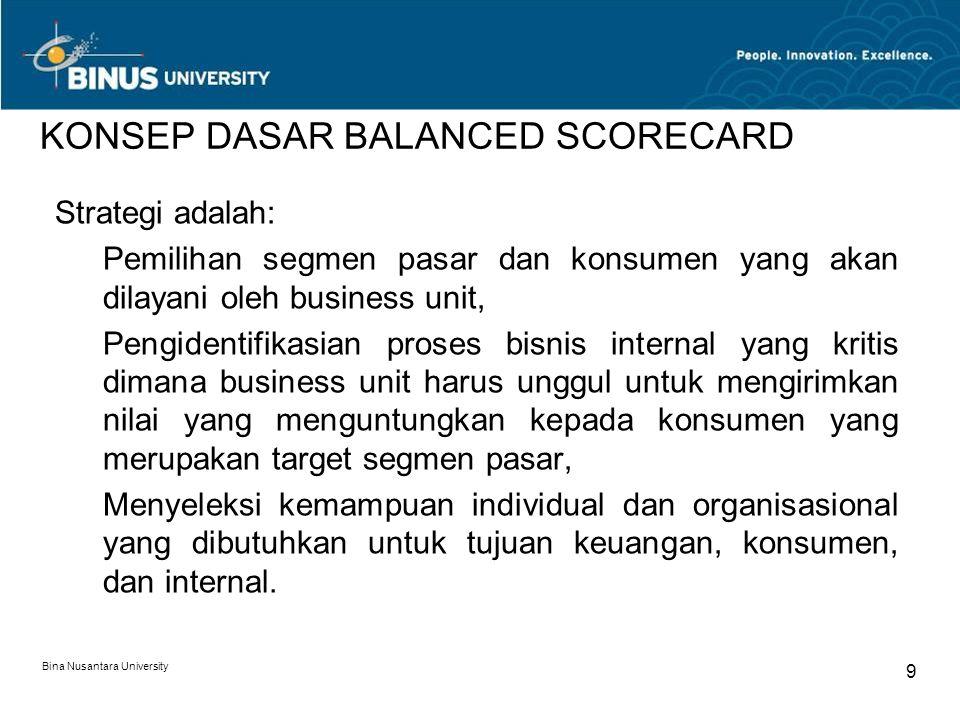 KONSEP DASAR BALANCED SCORECARD Strategi adalah: Pemilihan segmen pasar dan konsumen yang akan dilayani oleh business unit, Pengidentifikasian proses